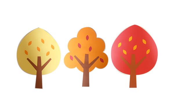 紅葉の秋の木々壁面飾り