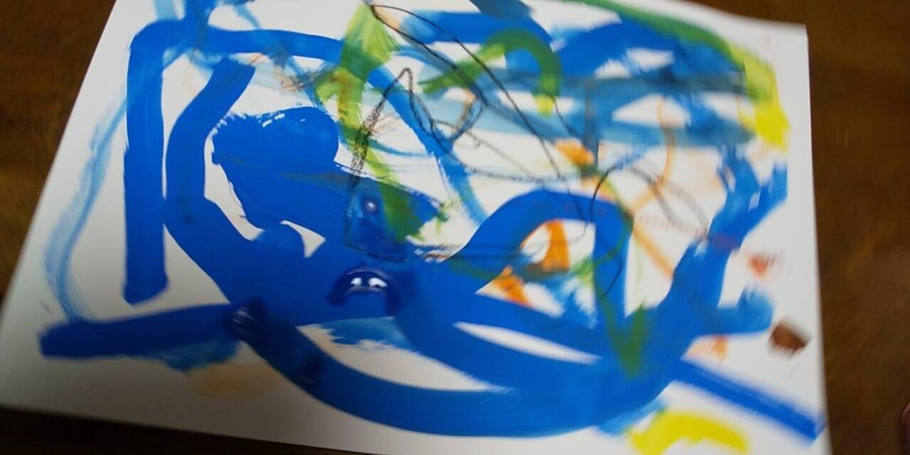 #3歳 ぐるぐる絵の具遊び